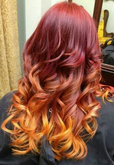 My new hair. Red, pink, orange, and yellow ombre goodness. Done by Rachele Roberts at richmond betty salon