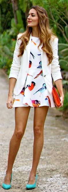 Sheinside Beige Birds Print Flare Short Dress by Marilyn's Closet