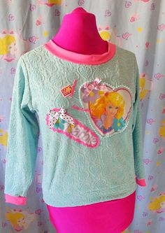 80s Barbie sweater mint green sweatshirt jumper by missalphabet