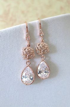 Rose Gold Cubic Zirconia Teardrop Earrings - gifts for her, earrings, bridal gifts, drop, dangle, pink gold weddings, bridesmaid earringsm by ColorMeMissy, www.colormemissy.com