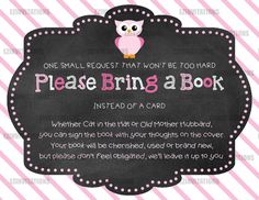 Pink and Grey Chalkboard Owl Baby Shower Book Request Invitation / Baby pink owl chalk baby shower bring a book instead of card - PRINTABLE!