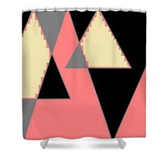 Shower Curtain of 'Pyramids, Cream, Grey, Apricot 1' by Sumi e Master Linda Velasquez. All My Apparel in SHOP at top of site.