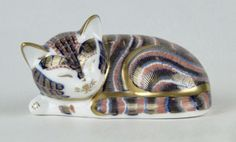 Royal Crown Derby ~ Porcelain figural laying cat ~ Aprox. 3 1/2 inches long