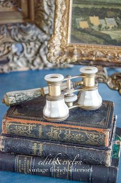 Antique French Opera Glasses with Extendable Arm by edithandevelyn