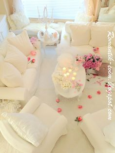 Romantic living room design - Romantic living- Romantic Valentine's day Home Decoration Romantic Ev dizayn, Romantik sevgililer gunu ev dekorasyon!    Romantic Shabby Chic room Design