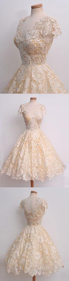 short lace homecoming dress/prom dress, vintage lace dress