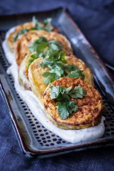 Crispy eggplant is lightly fried in olive oil and served with roasted garlic yogurt sauce and fresh cilantro. Crispy Eggplant, Roasted Eggplant Dip, Roast Eggplant, Vegetable Sides, Vegetable Recipes, Vegetarian Recipes, Cooking Recipes, Healthy Recipes, Good Food