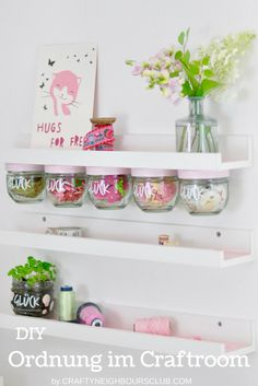 Upcycling idea for the craftroom: How you can build a great storage shelf from old jam jars. Ikea Hack for the craft room Upcycling idea for the craftroom: How you can build a great storage shelf from old jam jars. Ikea Hack for the craft room Mason Jar Crafts, Mason Jars, Diy Para A Casa, New Swedish Design, Diy Organisation, Organizing, Upcycled Home Decor, Diy Upcycling, Decoration Bedroom