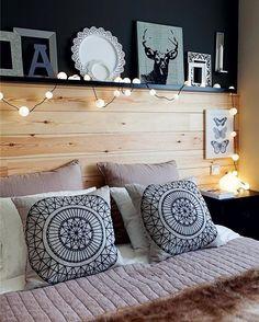 Putz, bicha! Que quarto mais lindo é esse?! Umas das cabeceiras mais lindas que já vi. #decoracao #decor #interiores #pinterest