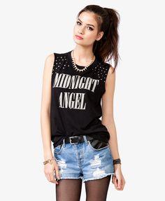 Forever 21-Studded Midnight Angel Tee