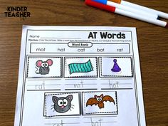 Color, cut, match word family words to the correct picture. Kindergarten First Week, Kindergarten Special Education, Kindergarten Writing Prompts, Kindergarten Phonics, Cvc Word Families, Family Worksheet, Teacher Name, Cvc Words, Autumn Activities