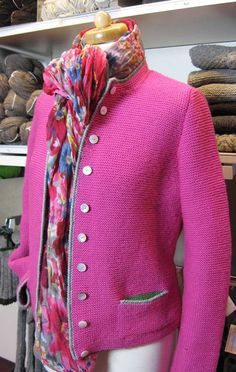 Austrian classic cardi bought up to date with explosive colour! love it,