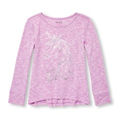 Girls Long Sleeve Embellished Graphic Hi-Low Lightweight Sweater-Knit Top