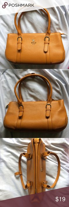 Polo Faux Tan Leather Purse 👜💋 Brand: Polo - I received this as a gift and cannot speak to where it was originally purchased.  Color: Tan / Burnt Orange Condition: VGUC; I never used this but moved it with me a few times. The inside is IMMACULATE. The only signs of wear on the outside are some tears along the base of the straps (see photo 4).  Stylish purse with many pockets is sure to turn heads while also serving a practical purpose! Feel free to ask questions in the comments!  😘👜🕶💋…