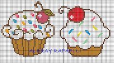 Cupcakes Hama Perler Bead Pattern Patrones en punto de cruz