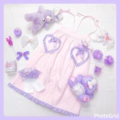 Nile Perch pink and lavender pastel coordinateコットンツイールロングスカート #nileperch #ナイルパーチ #pastel #パステル
