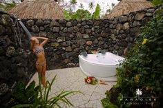 At Paradise Taveuni, we strive to give vacationers the best package holidays to Fiji. Explore the scenic beauty of Fiji through our team. Jacuzzi Outdoor, Outdoor Baths, Outdoor Bathrooms, Outdoor Rooms, Outdoor Showers, Outdoor Living, Honeymoon Spots, Fiji Honeymoon, Honeymoon Destinations