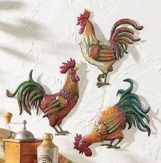 Juego De 3 país Granja Gallo Pollo De Pared De Metal Art Cocina Decoración del Hogar Barn Nuevo