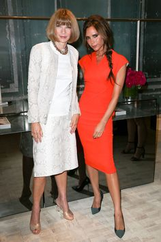 Victoria Beckham – in a tangerine shift dress of her own design - attended the Bergdorf Goodman event with Anna Wintour.