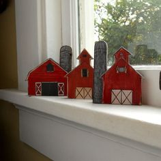 Barns: Wooden barn. Home decor. Set of three little wooden red barns. Country barn homestead.