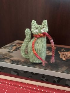 Ready To Ship Hand Knitted Cat Little Green Cat Cat Lovers by CatDKnits on Etsy