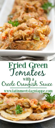 One of my favorite ways to eat Fried Green Tomatoes is with a tasty topping of Creole Crawfish Sauce – the perfect appetizer or lunch.