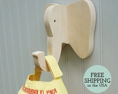 Wall hooks Rhino wall hook: playful wooden rhino by thejunglehook