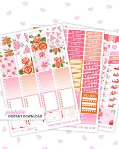 Printable planner stickers for the Erin Condren Vertical Life Planner. Red Roses Valentine's Day Weekly Kit by ilovemyplannershop