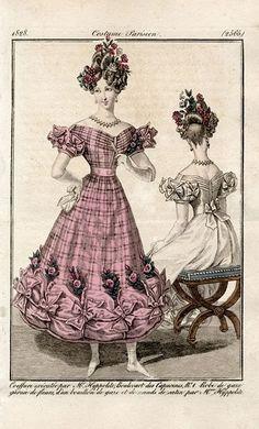 Costume Parisien 1828. Regency fashion plate.