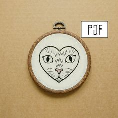 Cat in a Heart Hand Embroidery Pattern PDF modern embroidery