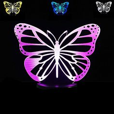 SUPERNIUDB 3D New Model Butterfly 3D Night Light LED USB 7 Color Change LED Table Lamp Xmas Toy Gift ** Be sure to check out this awesome product.