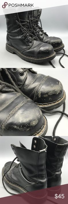 T.U.K. Steel-Toe Black Work Shoes Men 9 Leather boots have some moderate wear as shown, but are still in great shape T.U.K Shoes Boots