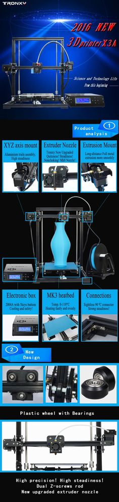 New Arrived ! ! ! Big Print Size ! ! ! Model: Tronxy X3 & X3A DIY kit Tronxy X3L & X3LA DIY kit Gifts:With 2rolls PLA(0.25kg/roll)+8G SD card+Tools -Print size: X3L: 215*315*300mm X3: 220*220*300mm X3S: 300*300*400mm -Note: Parts and components for DIY , need assemble by yourself ! – Free shipping does not include ...