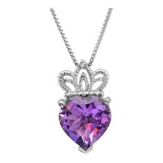 Amanda Rose Collection Sterling Silver Amethyst and Diamond Heart with... ($40) ❤ liked on Polyvore featuring jewelry, pendants, necklaces, sterling silver pendant, diamond pendant, diamond crown pendant, heart pendant и sterling silver jewelry