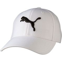 Puma Embroidered Cat Snapback Hat (30 NZD) ❤ liked on Polyvore featuring accessories, hats, white, adjustable hats, embroidered hats, puma hat, cotton cap and adjustable caps