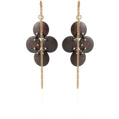 Leva Four Wood Circle Earrings with Chain ($375) ❤ liked on Polyvore