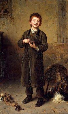 """""""First Earnings"""" -- Ludwig Knaus (1829 – 1910, German):"""