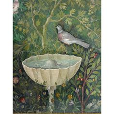 A print of a detail from the Garden and Doves Fresco, a key wall painting from ancient Rome. The Fresco was discovered in the 1960s at the House of the Golden Bracelet on the western edge of Pompeii, over 2,000 years after it was created. It is possible that at the time the fresco was painted certain plants or birds had symbolic significance. The Fresco is one of the highlights of the Museum exhibition: Life and death in Pompeii and Herculaneum.