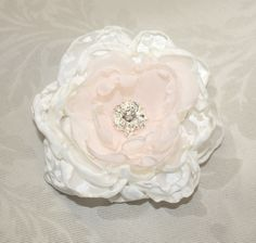Ivory blush Peony with crystal hair Flower comb / Clip wedding head Piece  reception - Julie by WearableArtz on Etsy https://www.etsy.com/listing/105772267/ivory-blush-peony-with-crystal-hair