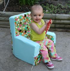 Make your own kid size foam chair with removable cover Tutorial
