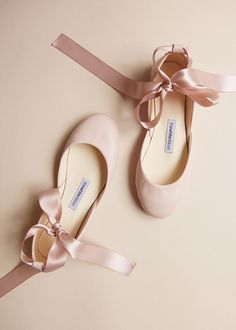 84cb733101b Blush leather ballet flats with long satin ribbons