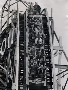 Loaded to capacity on the Coney Island Cyclone roller coaster. New York, 1963.
