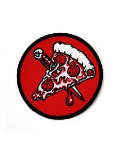 """Taking the slice out of the pie and onto the streets. Embroidered patch Merrowed edge Measurements: 3"""" diameter By Goblinko Megamall"""