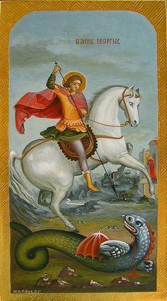 Georg web 18-2-2008 028.jpg - Nr. 3 Der heilige Georg toetet den Drachen, der das Boese symbolisiert. Die schoene Koenigstochter schaut der ...