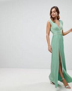ASOS Premium Lace Insert Pleated Maxi Dress