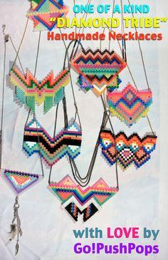 Diamond Tribe neckaces perler beads by GoPushPops