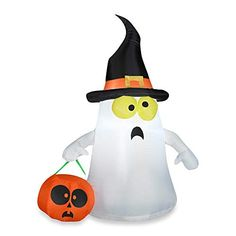 The Holiday Aisle Airblown Inflatable Ghost with Witch Hat Lighted Halloween Decoration 1 Pk Halloween Scene, Halloween Prop, Halloween Home Decor, Outdoor Halloween, Halloween Ghosts, Halloween House, Spirit Halloween, Halloween Themes, Halloween Decorations