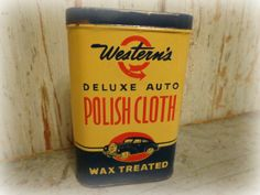 vintage westerns deluxe auto polish cloth tin / by AntiqueShopGirl, $65.00
