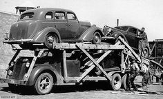 car transport Auto hauler - My old classic car collection Antique Trucks, Vintage Trucks, Old Trucks, Antique Cars, Semi Trucks, Vintage Auto, Old Classic Cars, Classic Chevy Trucks, Car Carrier