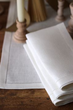 Hemstitch Linen Runner & Napkins